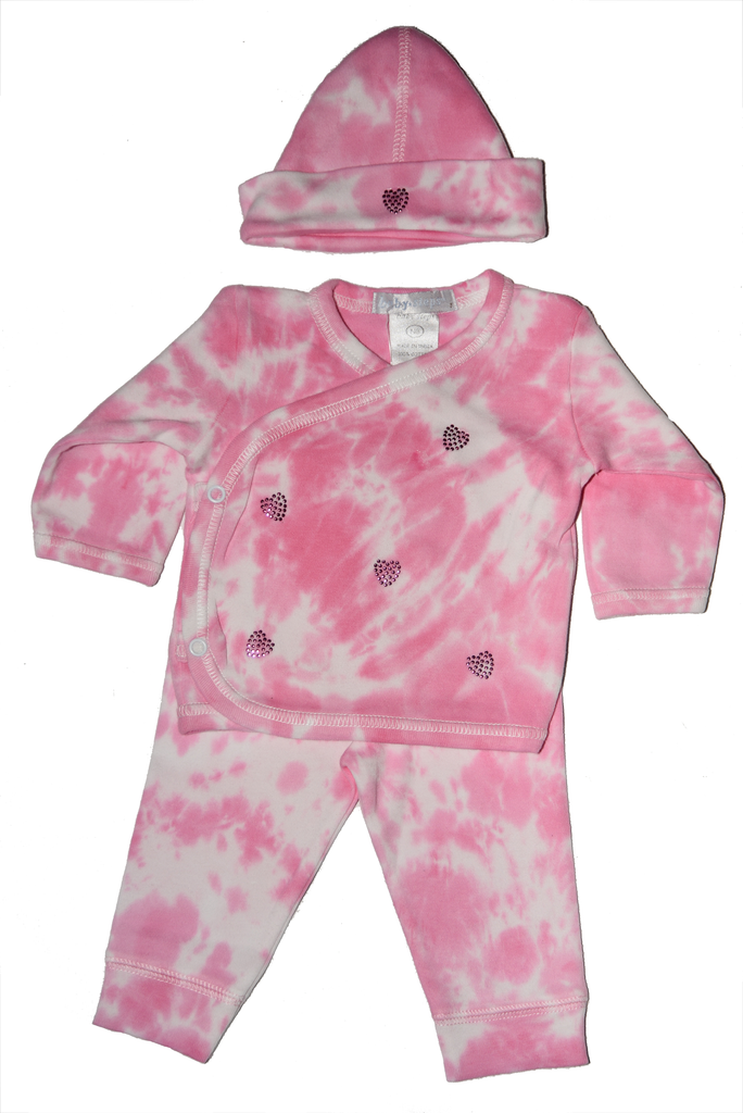 Baby Girl 3 Piece Tie Dye Take Me Home Fuchsia Rhinestone Hearts