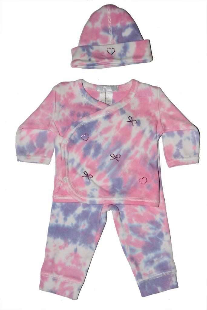 Baby Girl 3 Piece Tie Dye Take Me Home Fuchsia Rhinestone Bow and Heart