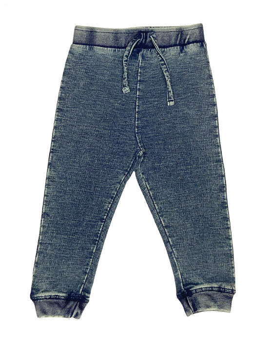 Distressed Denim Knit Jogger Pants - Dark Denim (1314158084171)