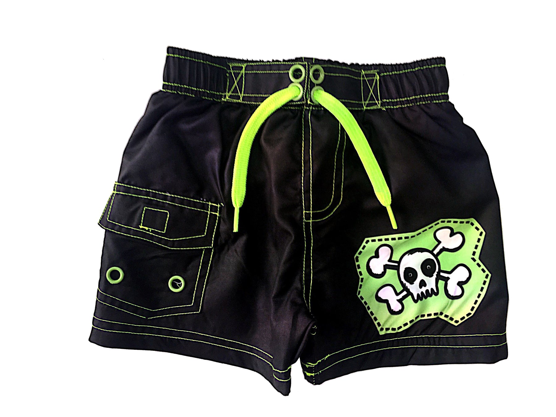 Board Shorts - Black/Neon Green Skull