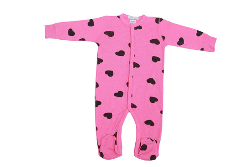 NEW Little Mish Heart Thermal Footie - Bubblegum with Black Hearts (3975098892363)