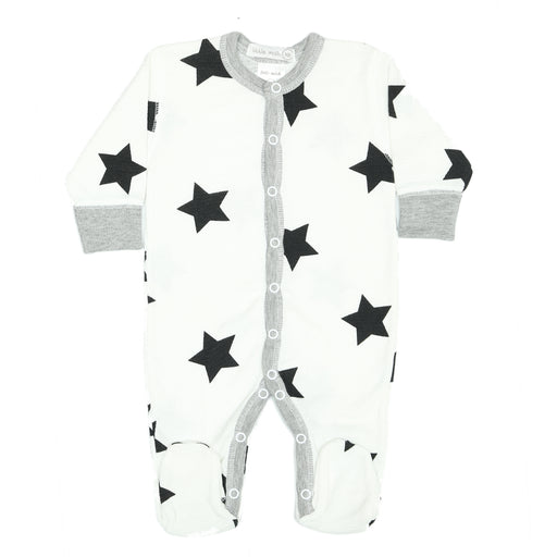 NEW Little Mish Thermal Footie - White with Black Stars (available in 9M only) (3975120355403)
