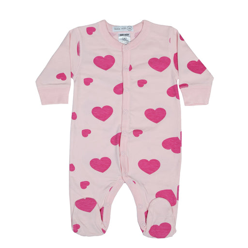 NEW Little Mish Hearts Footie - Pink (4499560890443)