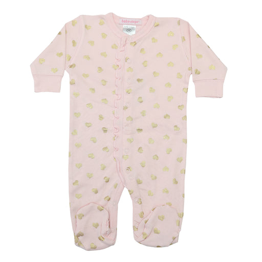NEW Footie with ruffle - Gold Foil Hearts on Pink (4340226687051)