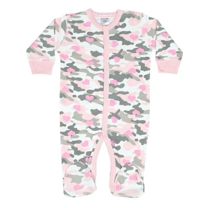 NEW Footie - Pink/Gray Camo Hearts (4342746087499)