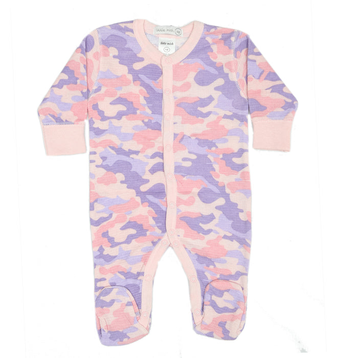 NEW Little Mish Thermal Footie - Pink Camo (3975109509195)