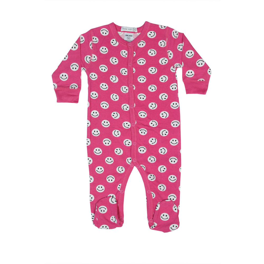 NEW Little Mish Smiley Footie - Bubblegum (4499558432843)