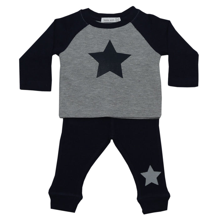 NEW Little Mish Thermal Pants Set - Navy and Heather Stars (4657124638795)