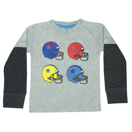 Long Sleeve 2Fer Shirt w Thermal Sleeves - Football Helmets on Gray