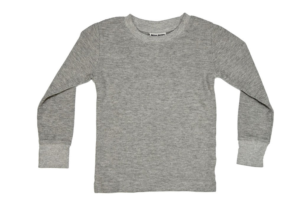Boys Long Sleeve Solid Thermal Shirt - Heather Gray