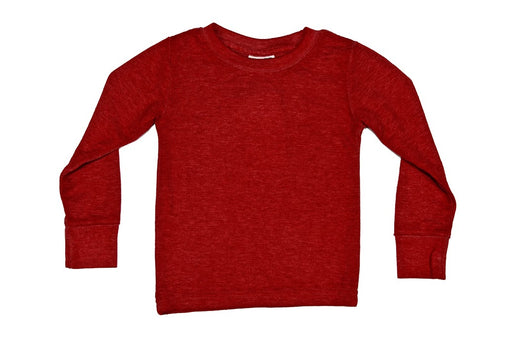 Long Sleeve Solid Thermal Shirt - Red