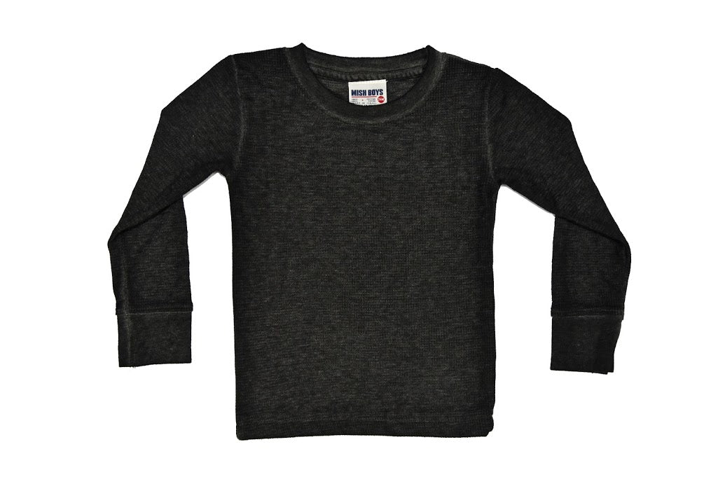 Long Sleeve Solid Thermal Shirt - Black