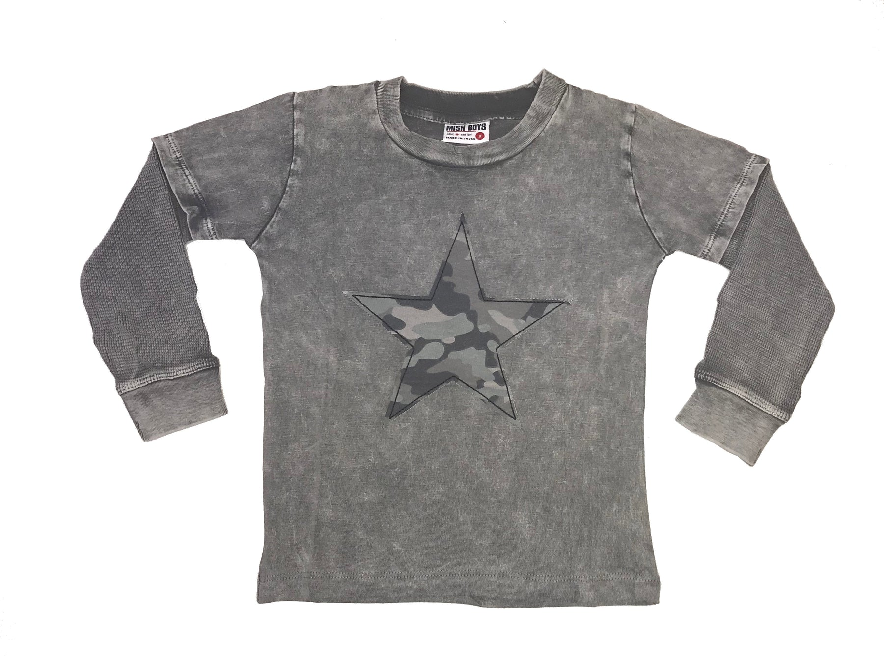 Long Sleeve 2Fer Shirt w Thermal Sleeves - Coal Enzyme with Black Camo Star (4288070189131)