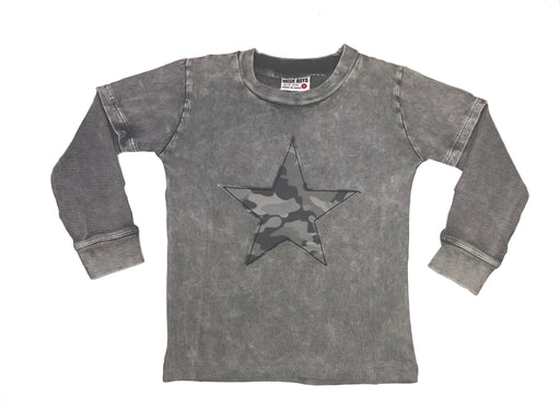 Long Sleeve 2Fer Shirt w Thermal Sleeves - Coal Enzyme with Black Camo Star
