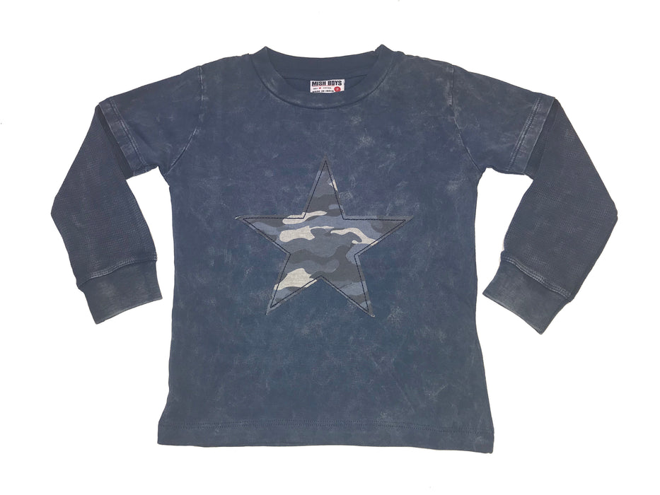 Long Sleeve 2Fer Shirt w Thermal Sleeves - Navy Enzyme Camo Star