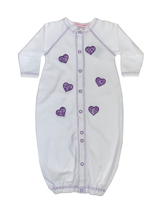 Converter Gown with Purple Hearts on White