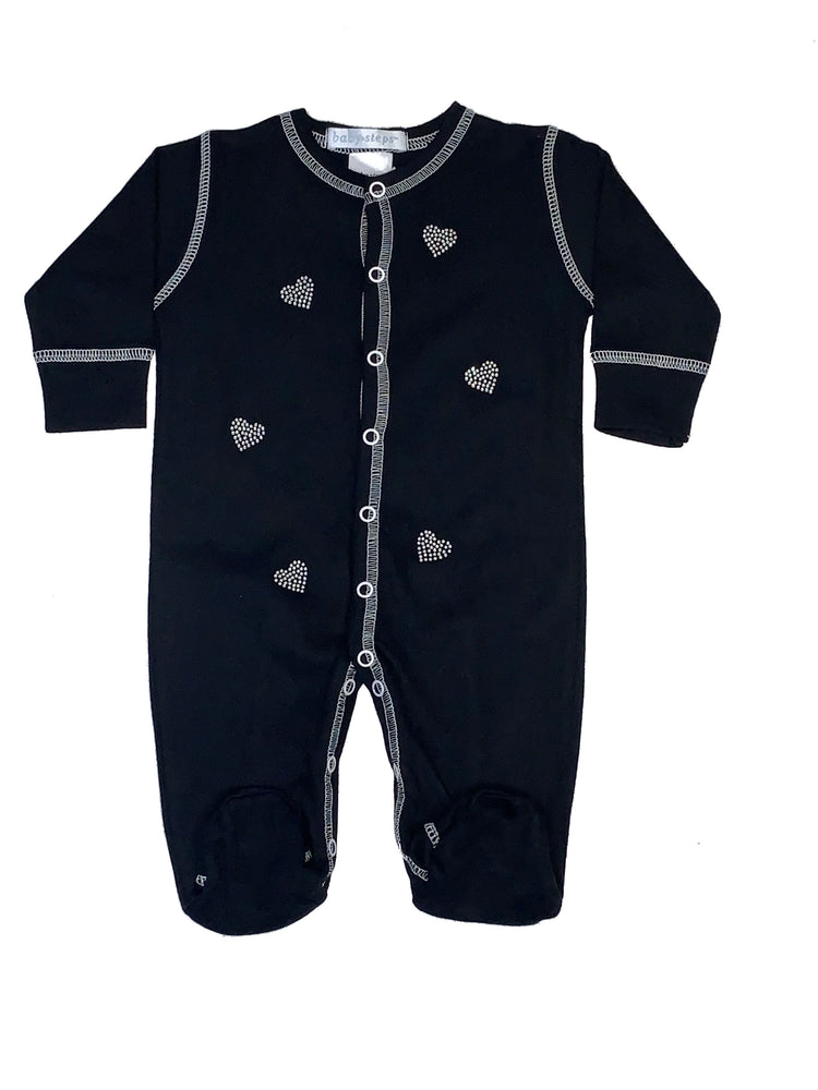 Footie with Rhinestone Hearts on Black (4332033638475)