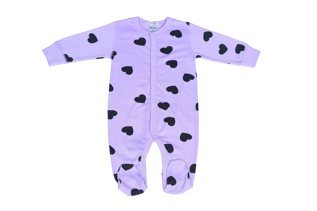 Little Mish Heart Footie - Lilac (available in Newborn only)