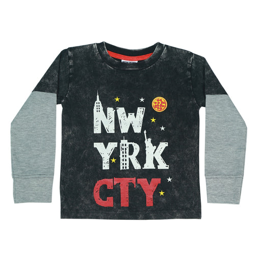 Long Sleeve 2Fer Shirt w Thermal Sleeves - NW YRK CTY (available in Sizes 12M and 24M only)