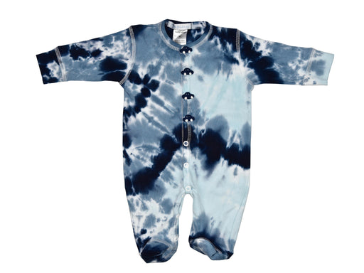 Tie Dye Footie with Navy Crochet Cars
