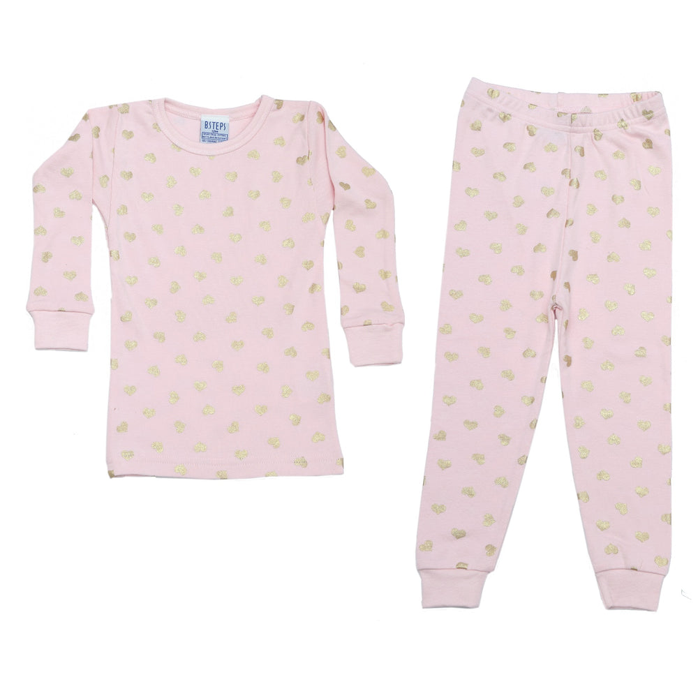NEW Pajamas - Gold Foil Hearts on Pink (4338578751563)