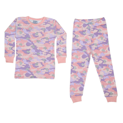 NEW Pajamas - Camo with Foil Silver Hearts (4338713395275)