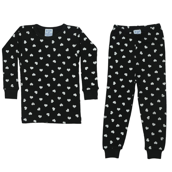 NEW Pajamas - Silver Foil Hearts on Black (4338572656715)
