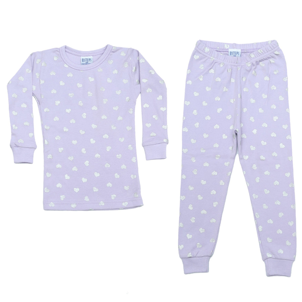 NEW Pajamas - Silver Foil Hearts on Lilac (4338573967435)