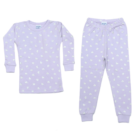 NEW Pajamas - Silver Foil Hearts on Lilac (MORE COMING SOON)