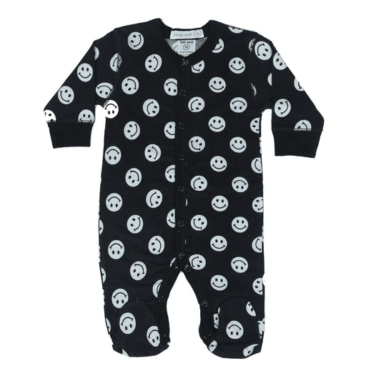 NEW Little Mish Smiley Footie - Black (4499554926667)