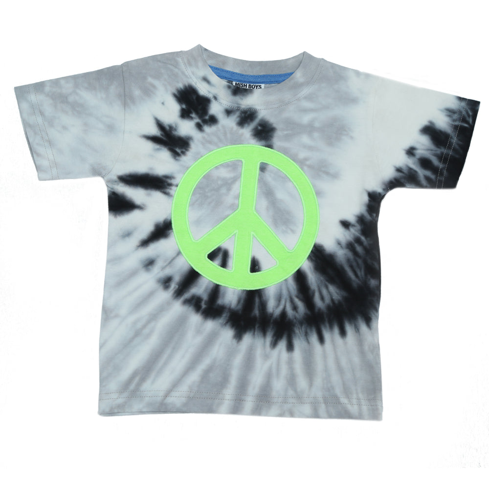 T-Shirt - Black Tie Dye Peace Sign (4464819437643)