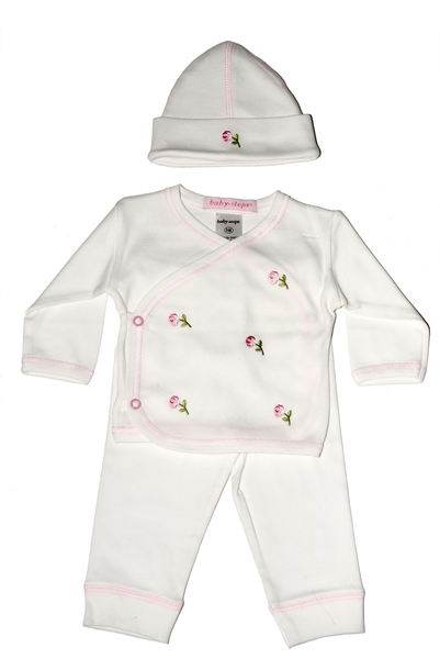 Baby Girl 3 Piece Take Me Home Pink Flowers
