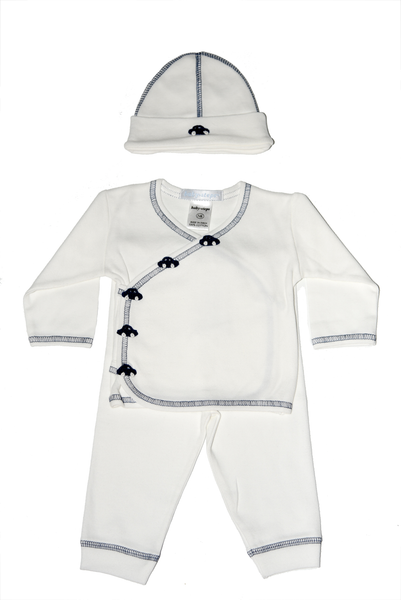 Baby Boy 3 Piece Take Me Home Navy Chrochet Cars
