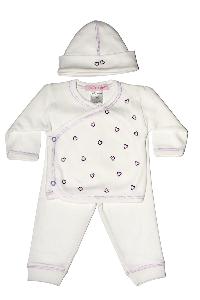 Baby Girl 3 Piece Take Me Home All Over Lilac Hearts