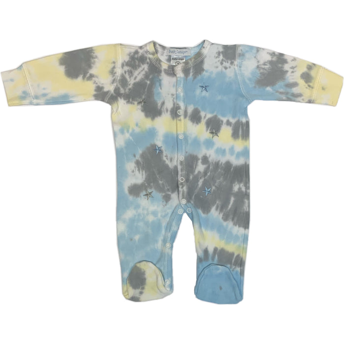 Tie Dye Footie - Blue and Gray Stars - Isaac (1515453317195)