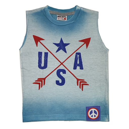 Muscle Tee - USA - White/Blue Ombre