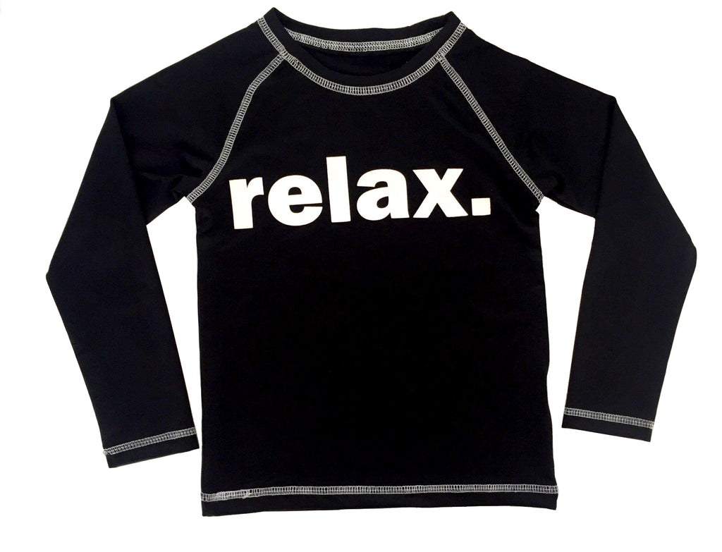 "Boys Rash Guard - Black ""Relax"" ****Sizes 6M through size 4 will be long sleeves. Sizes 5-7 will be short sleeves."