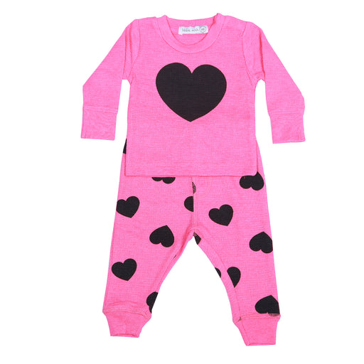 NEW Little Mish Thermal Shirt/Pants Set - Bubblegum/Black Hearts (4432891936843)