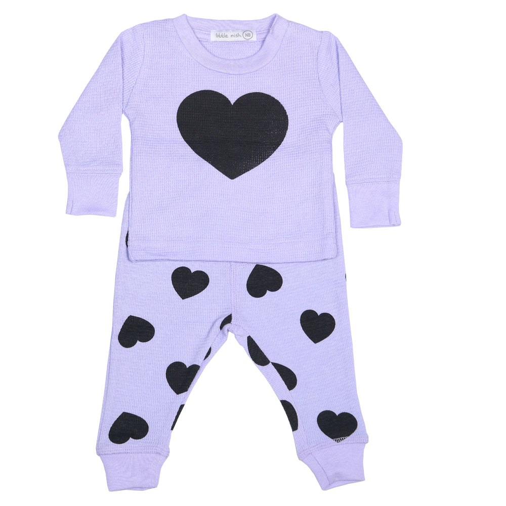 NEW Little Mish Thermal Shirt/Pants Set - Lilac/Black Hearts (3975178715211)