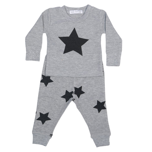 NEW Little Mish Thermal Shirt/Pants Set - Heather/Black Stars (3975170555979)
