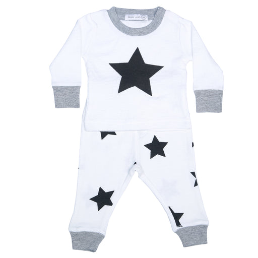NEW Little Mish Thermal Shirt/Pants Set - White/Black Stars (3975186219083)