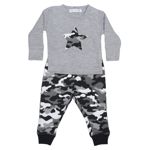 NEW Little Mish Thermal Shirt/Pants Set - Heather with Black Camo (available in 9M only) (3975139590219)
