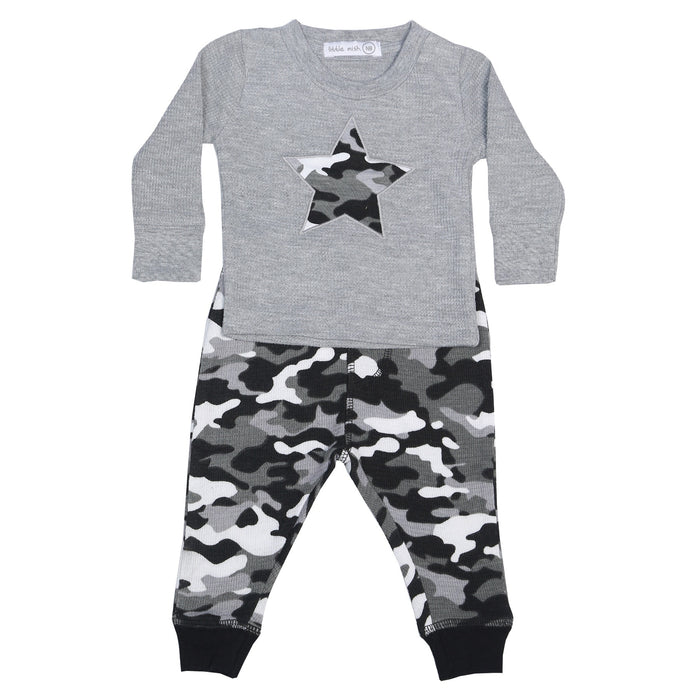 NEW Little Mish Thermal Shirt/Pants Set - Heather with Black Camo (available in 9M only)