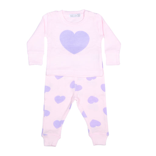 NEW Little Mish Thermal Shirt/Pants Set - Pink/Lilac Hearts