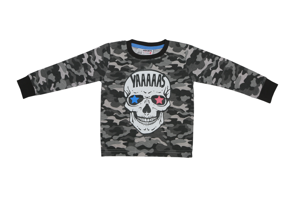 Boys Long Sleeve Shirt - YAAS Skull - Gray Camo