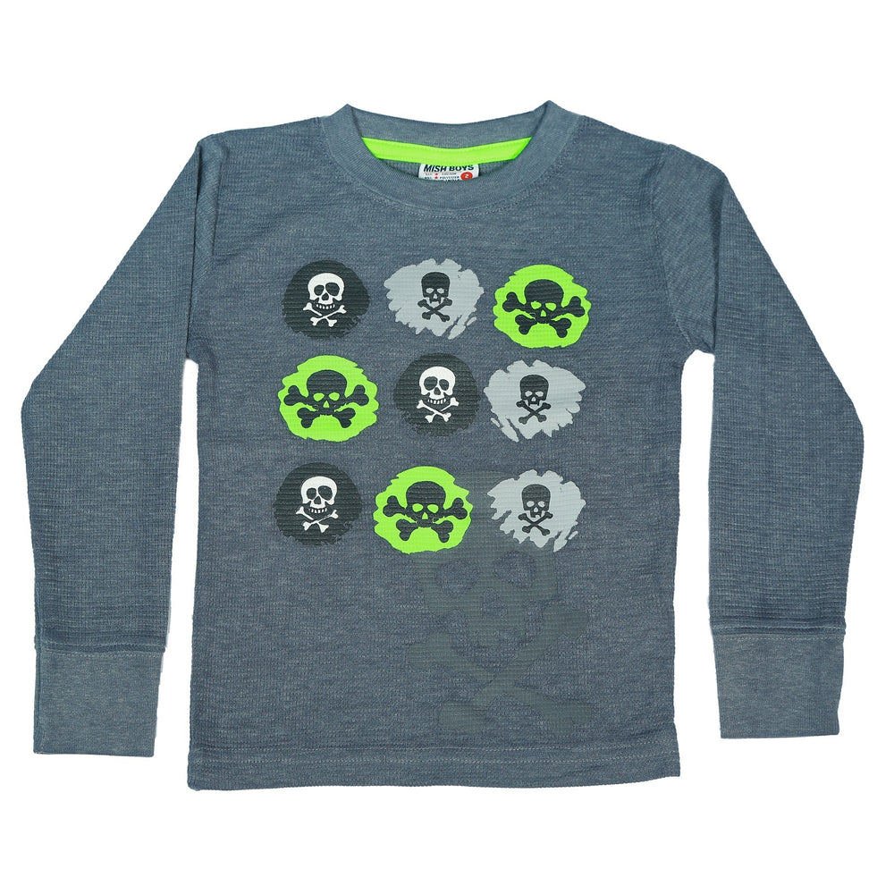 Long Sleeve Thermal Shirt - Skulls (3854302937163)