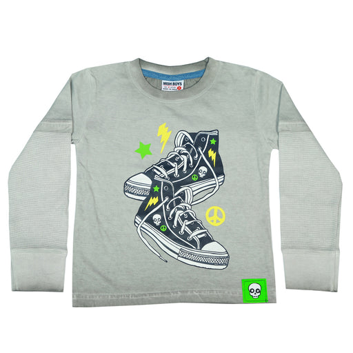 Long Sleeve 2Fer Shirt w Thermal Sleeves - Sneakers
