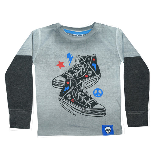 Long Sleeve 2Fer Shirt w Thermal Sleeves - Black Sneakers