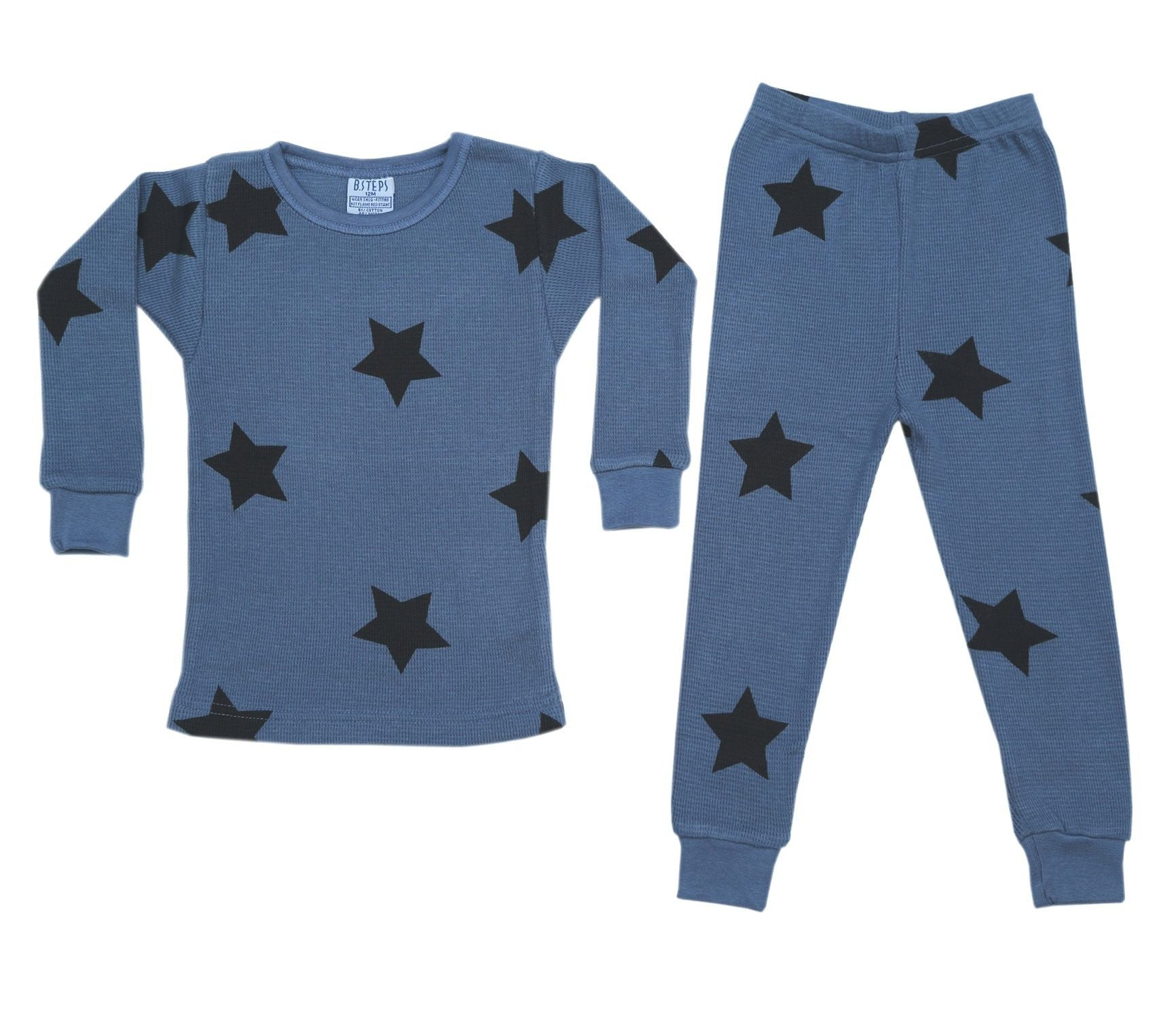 NEW! Thermal Star Pajamas - Black Stars on Denim (4686772863051)