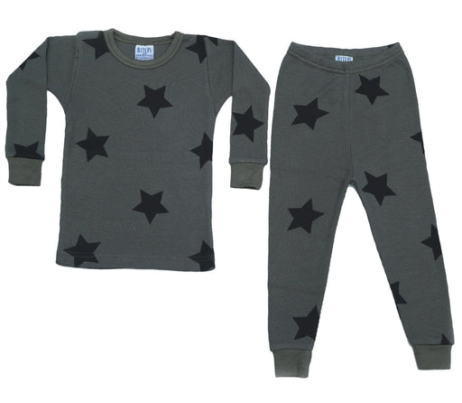 Thermal Star Pajamas - Black Stars on Coal (4686778433611)